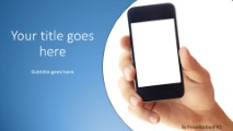 Holding Mobile Phone Widescreen PowerPoint template background in - power point slide designs
