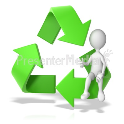 Recycle Symbol with a Stick Figure - Presentation Clipart - Great - recycling powerpoint templates