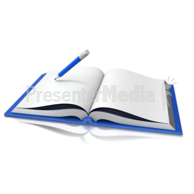 Opened Book Pencil Writing - Presentation Clipart - Great Clipart - opened book