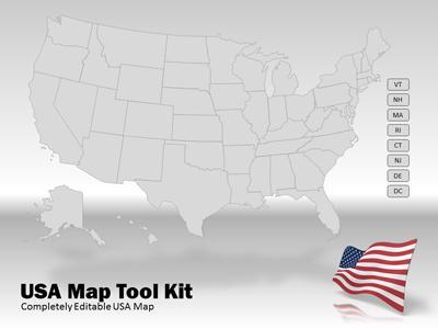 USA Map Tool Kit - A PowerPoint Template from PresenterMedia - editable united states maps