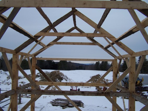 Foley Carpenter's Shop, re-built, awaiting sheathing, Poland, ME. Photo by Lee Hoagland