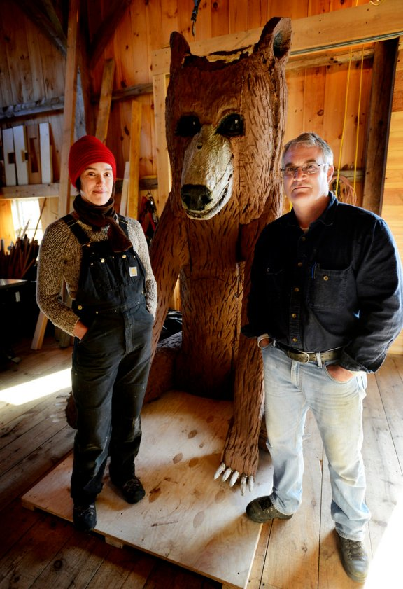 Arron and Jess in front of Seated Bear.  Photo by Shawn Patrick Ouellette, for the Portland Press Herald