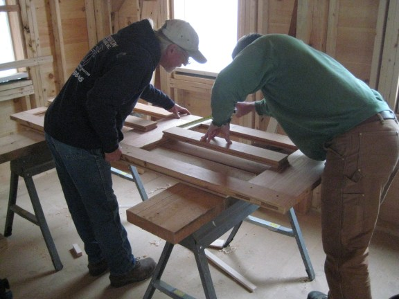 Tom and Dan, assembling a frame and panel door, photos by Dave Ewing