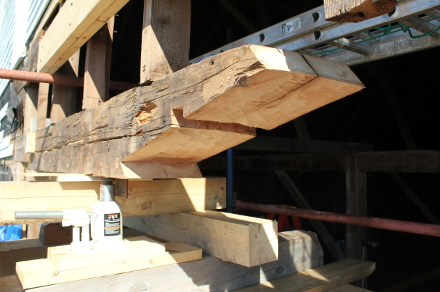 One scarf half, on the existing tie beam