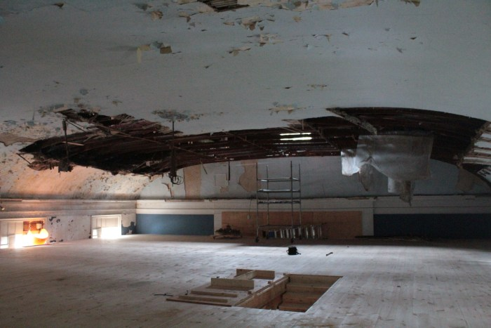 Timber floor, and arched ceiling