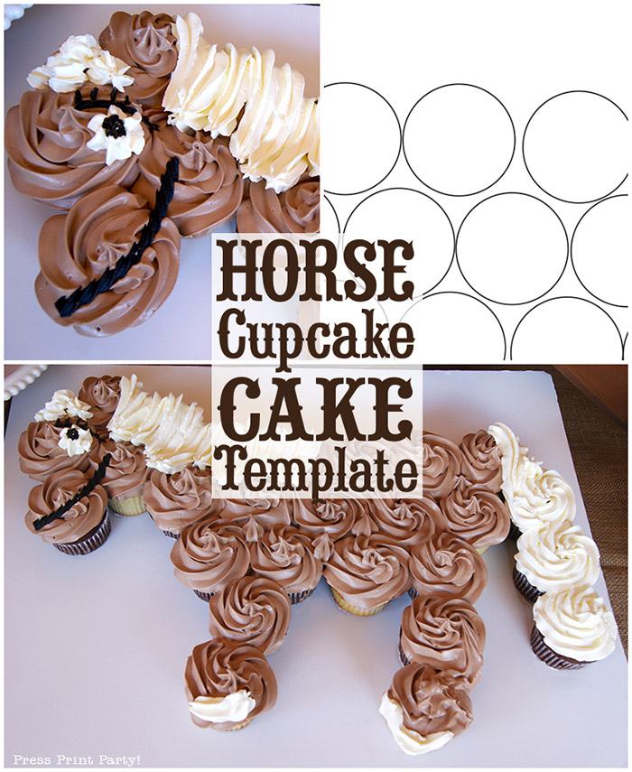 Horse Cupcake Cake How To w FREE template- by Press Print Party