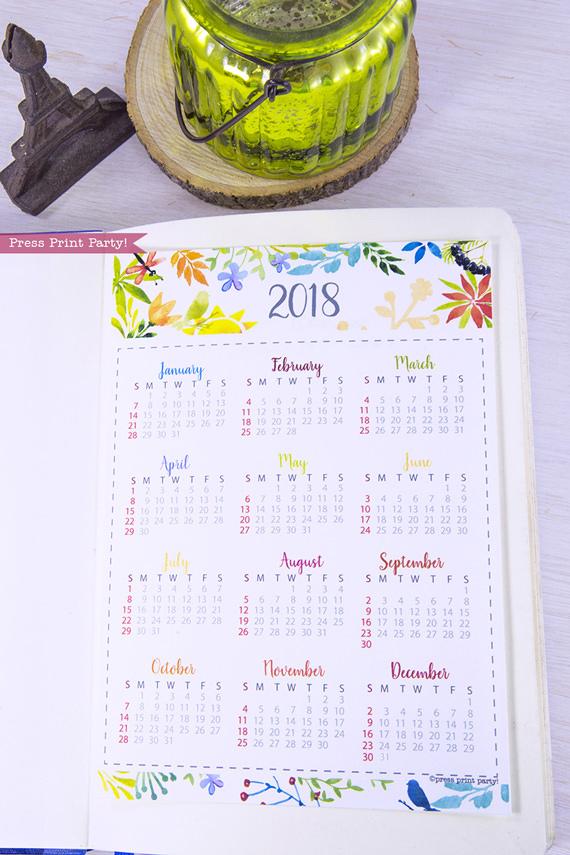 2019 year at a glance calendar