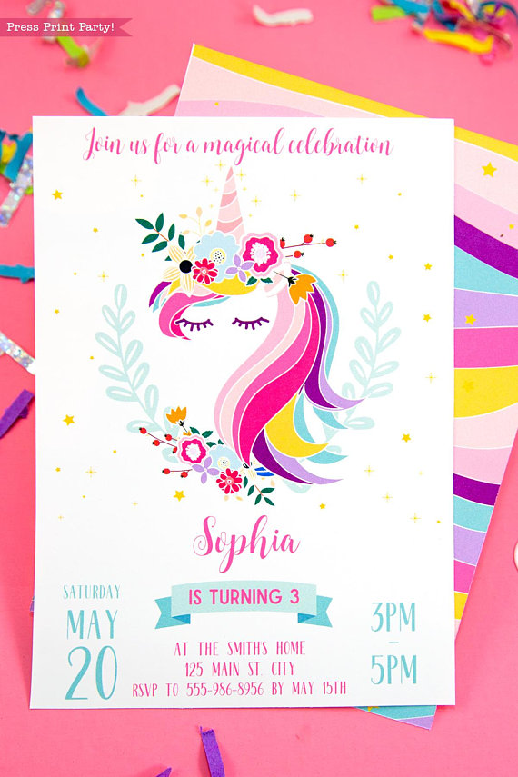 Unicorn Party Invitation Printable - Press Print Party