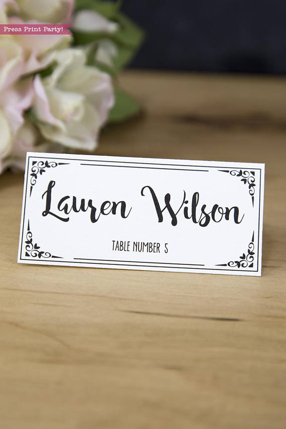 Rustic Wedding Place Cards Printable - Black - Press Print Party
