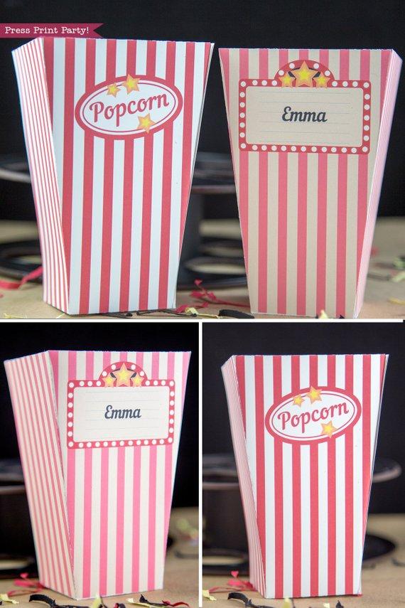Popcorn Box Printables (Vintage Look) - Instant Download - Press