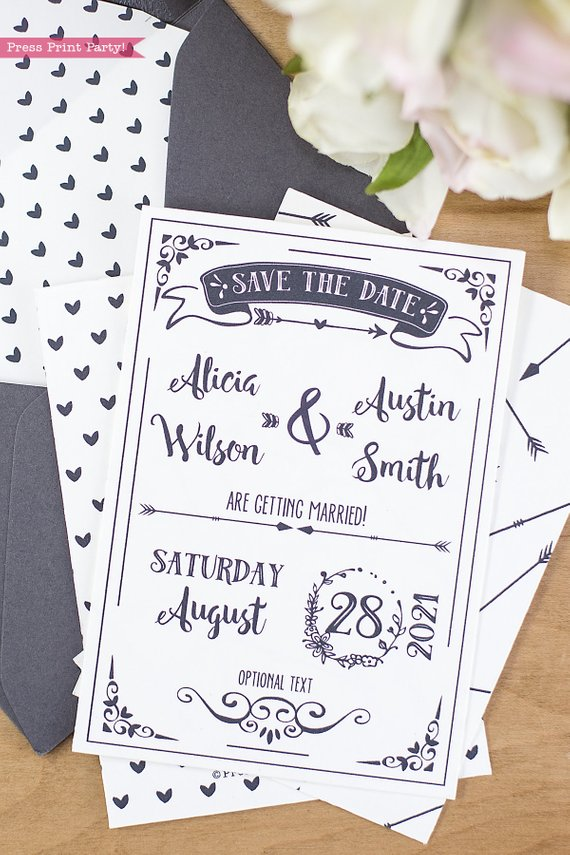 Rustic Wedding Save the Date Cards - Press Print Party!