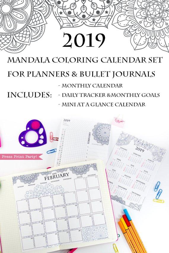 2019 Calendar Set Printable, Mandala Coloring Design - Press Print