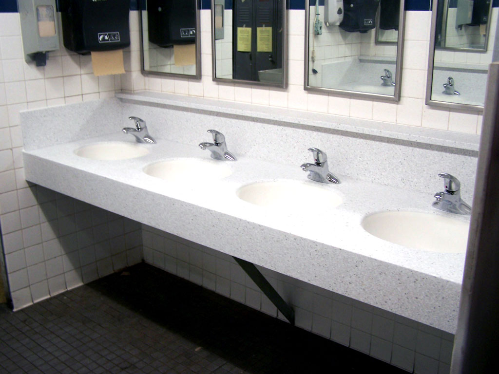 Commercial bathroom corian sink countertop