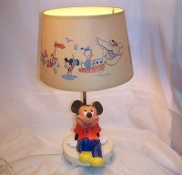 Mickey Mouse Nursery Lamp w Orig Shade, Nightlight, Vintage