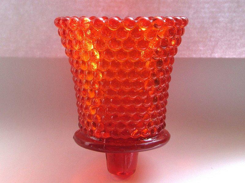 Home Interiors Peg Votive Candle Holder Dark Orange Hobnail