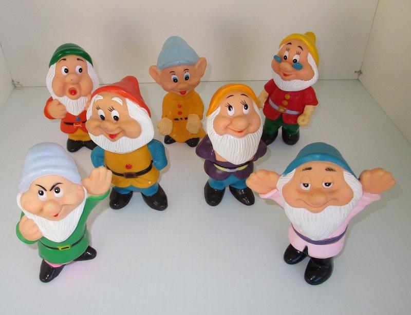 Seven Dwarfs From Snow White Vintage Disney Squeaky Toys