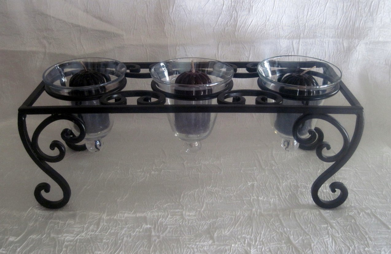 Wrought Iron Candle Holder 3 Iridescent Teardrop Cups