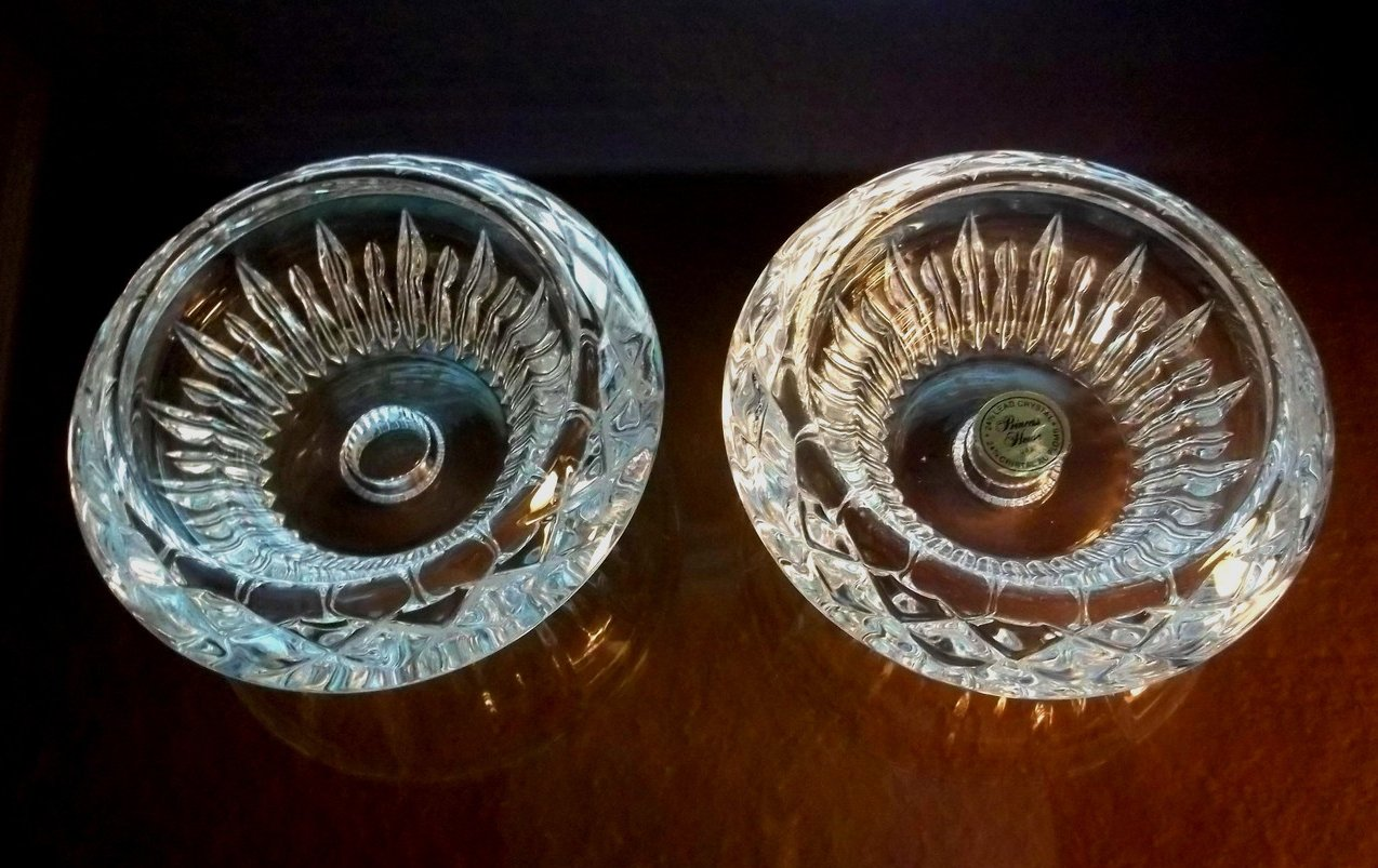 Princess House Lead Crystal Reversible Candle Holders Set of 2