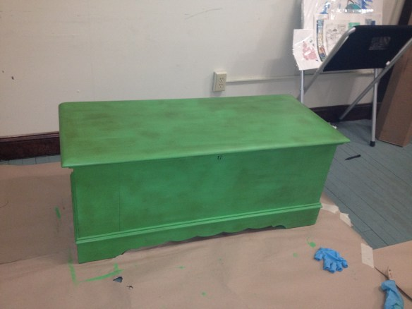PAWS- Lane hope chest with chalk paint & dark wax over clear wax