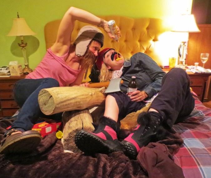 women dressed as lumberjacks squirting cheese