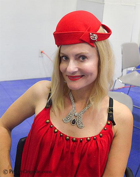 1050s red vintage hat and rhinestone necklace