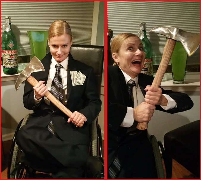 Wheelchair disabled woman dressed as Patrick Bateman in American Psycho
