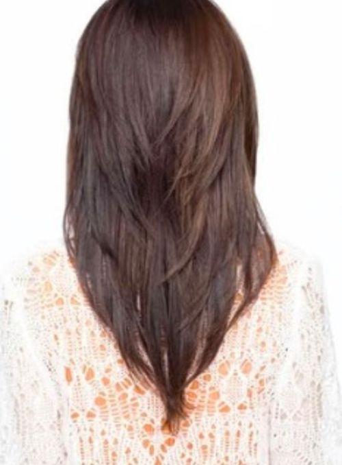 V-cut Medium Straight Haircut