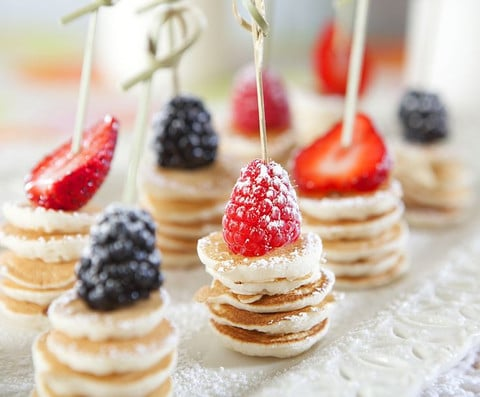 Mini Pancake Stacks, Toddler Birthday Party Finger Foods Pretty My Party