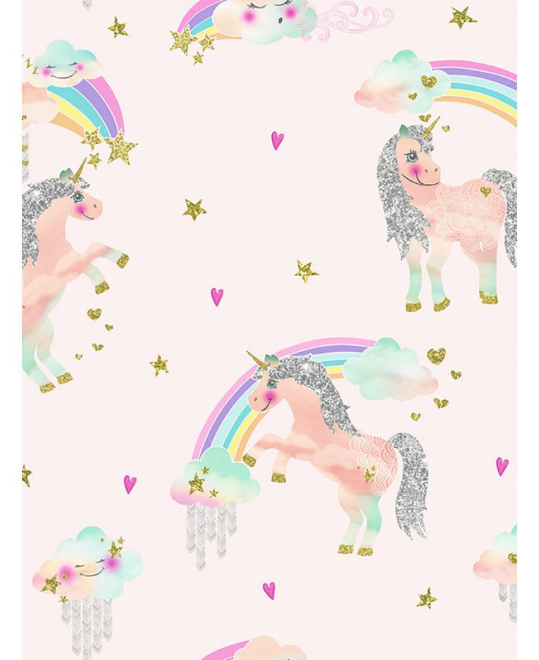 Baby Girl Nursery Wallpaper Borders Rainbow Unicorn Glitter Wallpaper Pink Arthouse 696108