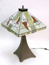 Table Lamp; Prairie Style, Slag Glass Shade, 28 inch.