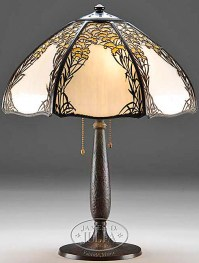 Table Lamp; Handel, Overlay, Slag Glass Panels, 22 inch.