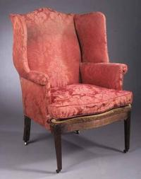 Furniture: Chair-Wing; Hepplewhite, Mahogany, Arched Back ...
