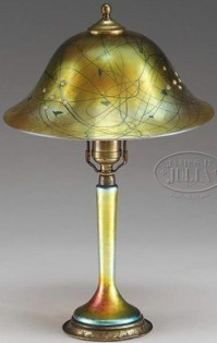 Table Lamp; Steuben Glass, Aurene, Gold, Heart & Vine