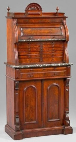 Cabinet; Dental, Ash & Son, Victorian, Burl Walnut, Cylinder Roll, 2 Doors.