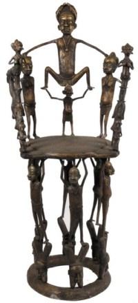 Furniture: Chair-Throne; African, Benin, Bronze, Figure of ...