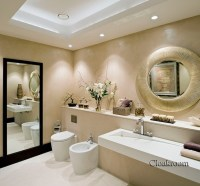 Contemporary Full Bathroom with High ceiling & Wall ...