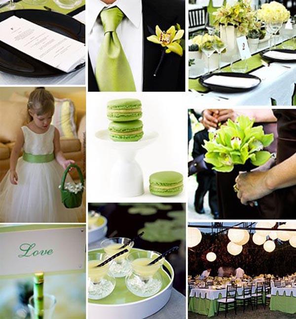 Black White And Green Weddings