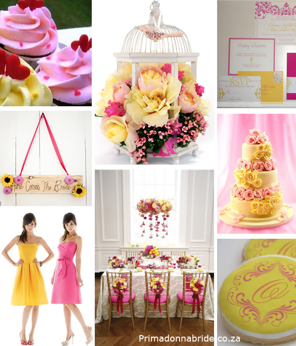 Yellow and pink wedding colours