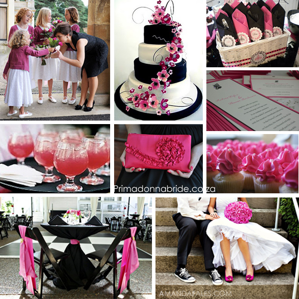 Fuschia, black and white wedding inspiration