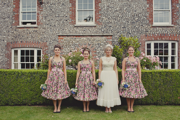 Floral bridesmaids dresses.