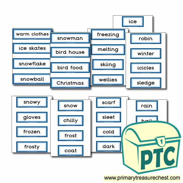 Winter Themed Display Words - Primary Treasure Chest