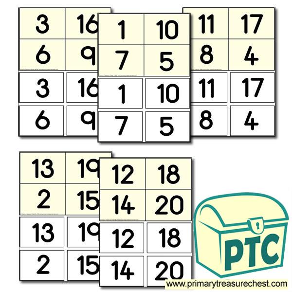 1 20 Number Bingo Game Printable