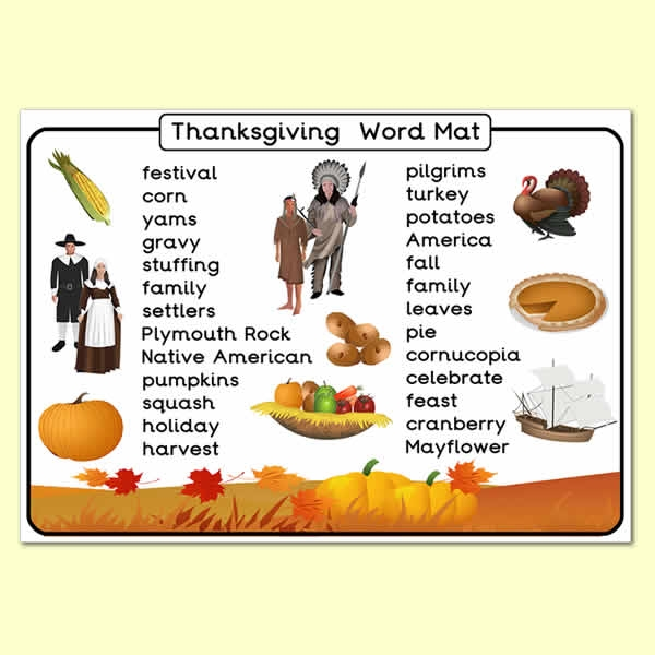 Thanksgiving Wordmat - Thanksgiving Day, literacy, word wall with