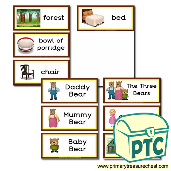 Flashcards- Goldilocks and The Three Bears Vocabulary - Primary - vocab flashcards