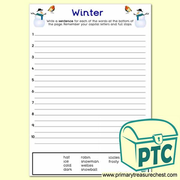 Winter Themed Sentence Worksheet - Primary Treasure Chest
