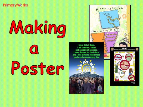 Poster making KS1 KS2 PowerPoint for English literacy lesson making