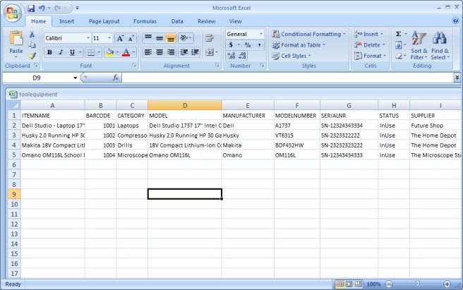 equipment tools check in out database solution tutor import itemsms