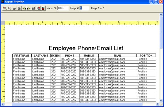 employee phone list template