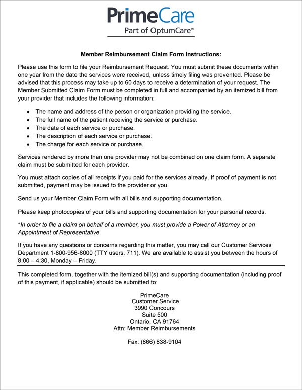 PrimeCare Member Reimbursement Claim Form