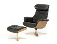 Modern Black Leather Reclining Chair with Ottoman New ...